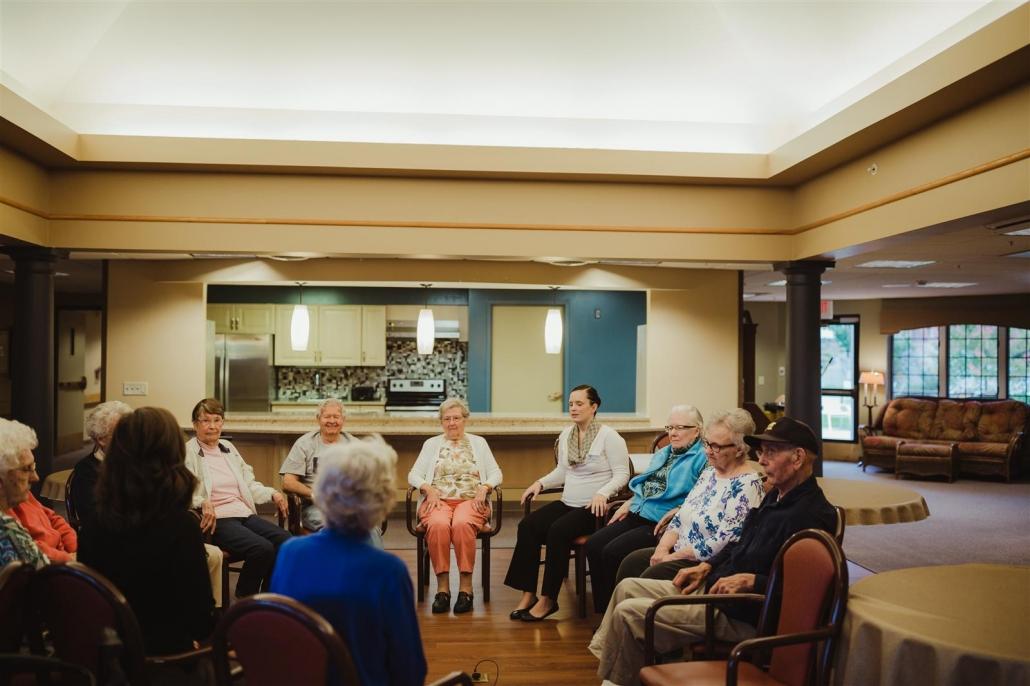 group of seniors talking